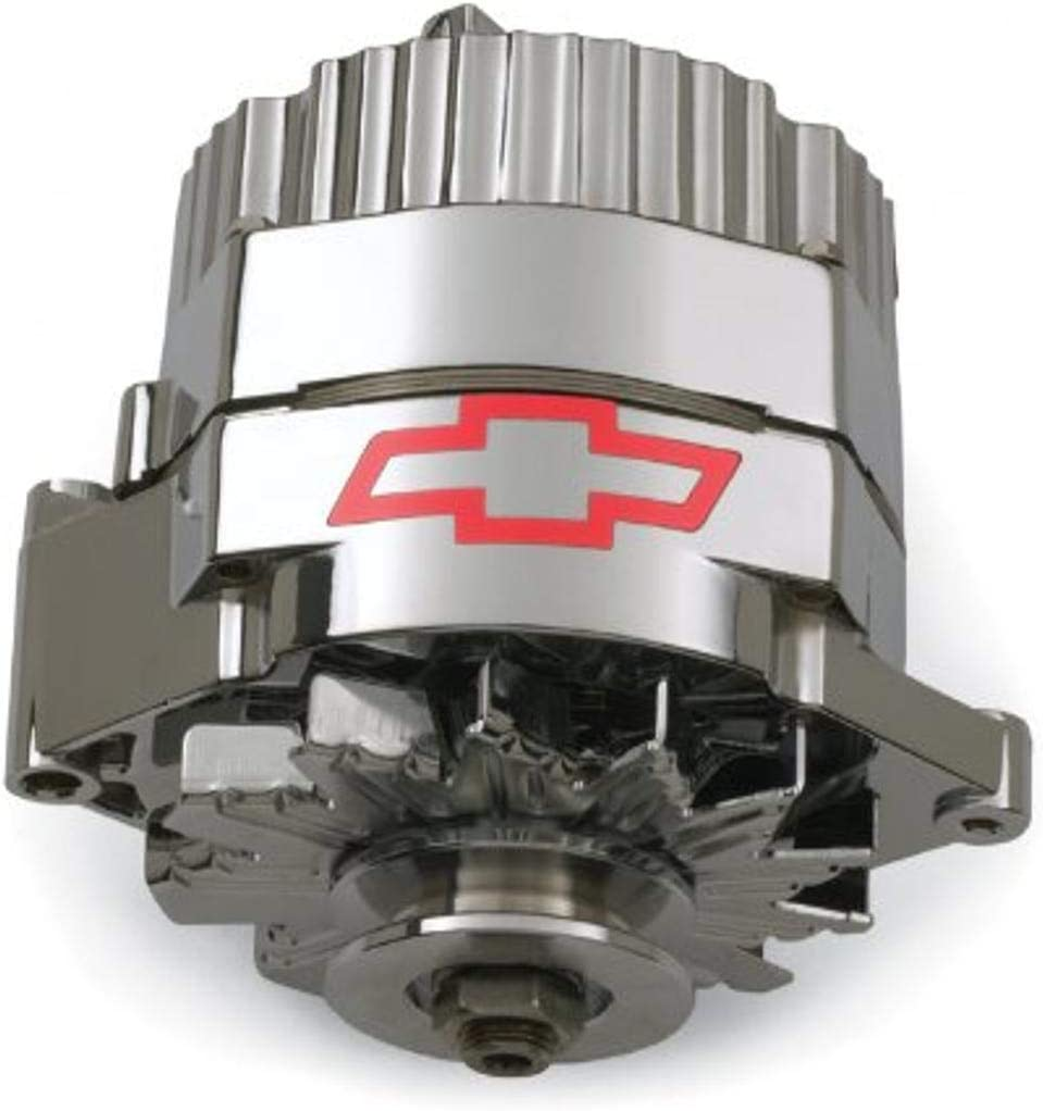 Proform 141-660 120 Amp 10si Chrome Finish 1-Wire Alternator with Internal Regulator and Red Bowtie Logo for GM