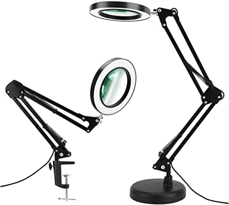 Magnifier Desk Lamp Dimmable Led Magnifying Lamp With Clamp And Stand 3 Color Modes Real Glass Lens Adjustable Swivel Arm Light For Reading Craft Close Work Black
