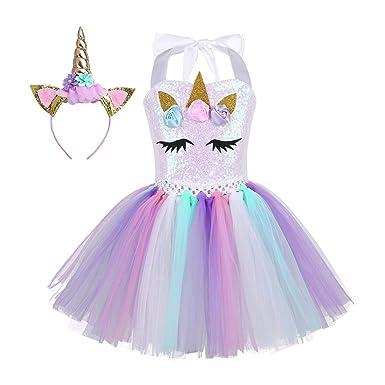 a0b80f1f12232f TiaoBug Enfant Fille Halloween Déguisement Licorne Robe Arc en Ciel sans  Manches Tulle Robe de Soirée avec Serre-tête Licorne Costume Carnaval 2-12  ...