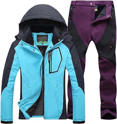 Qitun Mujer de Trekking Impermeable Deportivos Transpirable Pantalones Chaqueta de Esqu/í Impermeable Chaqueta de Nieve Excursionismo Conjunto