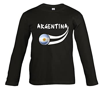 Supportershop Camiseta Argentina Negro L/S niños Fútbol, T-shirt Argentine noir L