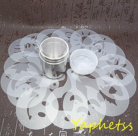 Café Latte guirnalda molde - 16 piezas capuchino plantilla de plástico + libre acero inoxidable en polvo Shaker - Fancy café plantillas modelo: Amazon.es: ...