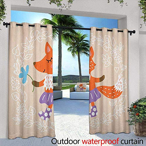 LOVEEO Kids Outdoor Curtains Fox with Skirt and Polka Dotted Socks Holding a Flower on a Pastel Toned Background Embossed Thermal Weaved Blackout 84