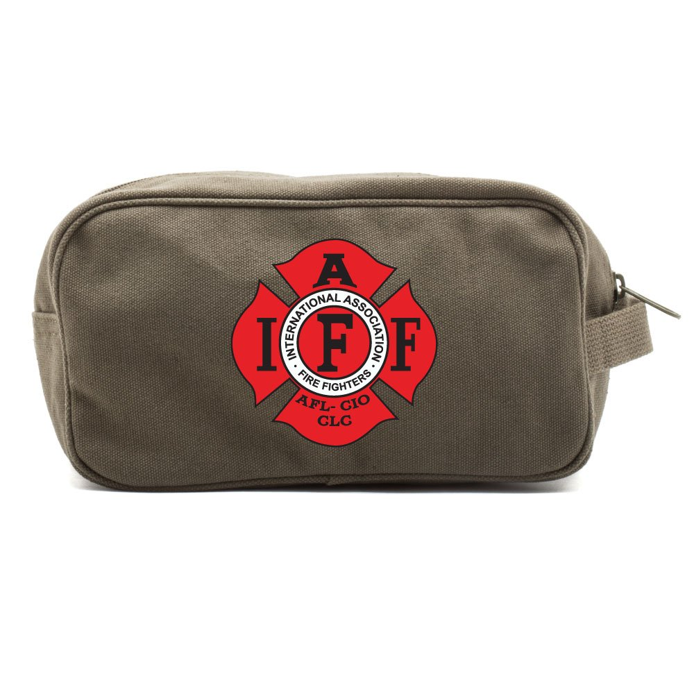 IAFF International Association of Fire Fighters Logo Canvas Shower Kit Travel Toiletry Bag Case in Olive