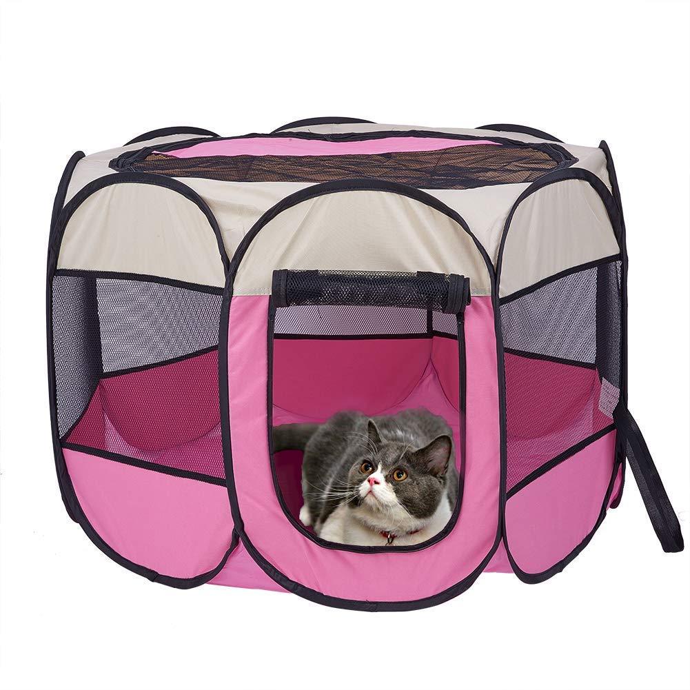 Cacoffay Box in Tessuto Pieghevole per Cani Bello nell'apparenza, Facile da trasportare, Arioso su Tutti i Lati, Anti-Mosquito Gabbia per canile per Animali Domestici