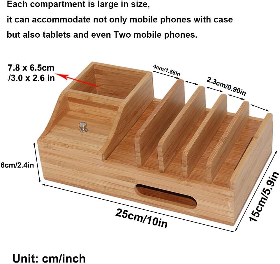 Stations daccueil en Bois de Bureau Pezin /& Hulin Station de Charge en Bambou Comprend 5 c/âbles de Chargeur Organisateur de Plusieurs appareils pour t/él/éphones Tablette