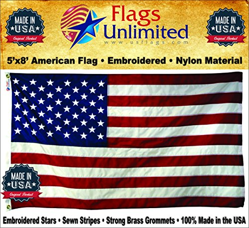 Flags Unlimited American Flag: 100% American Made - Embroidered Stars & Sewn Stripes - 5 x 8 ft from (5 by 8 Foot)