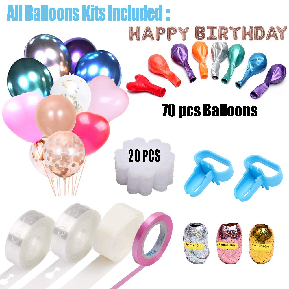Electric Balloon Pump, KOSBON Balloon Bump 110V 600W Portable Dual Nozzles Electric Air Balloon Pump Electric Balloon Inflator with 83 PCS Balloons, Tying Tools, 20 Flower Clips, Tape Strip, Colored Ribbon and Dot Glues for Party Decoration by KOSBON (Image #4)