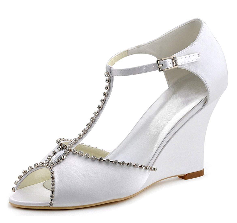 Qiusa Damen T-Strap Satin Kristalle Elfenbein Satin T-Strap Wedge High Heel Hochzeit Abendschuhe UK 3 (Farbe   - Größe   -) 5f9b17