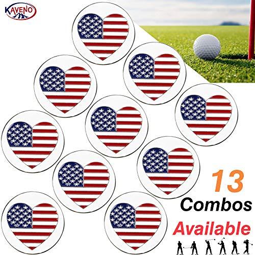 (kaveno Golf Ball Marker Series, Assorted Design, Pack of 5/10/20 (Love USA -10PCS))