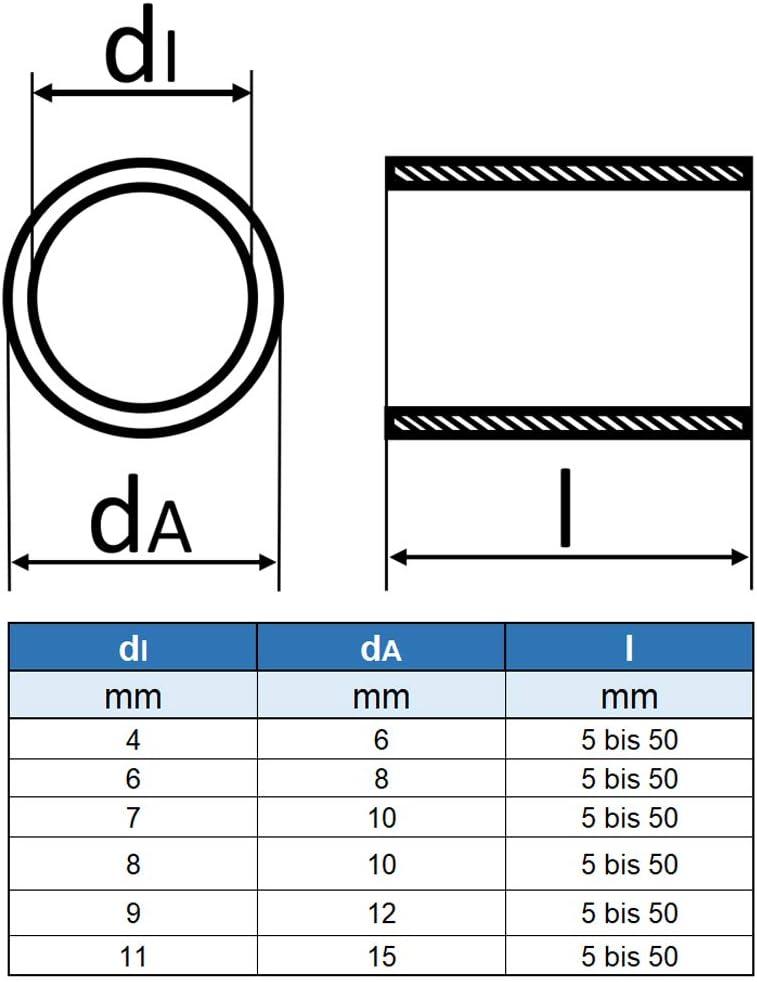Distanzh/ülse aus Edelstahl Rohr geschwei/ßt Eisenwaren2000 Abstandshalter 20 St/ück rostfrei Distanzhalter- VA Abstandsh/ülse /Ø innen: 8 mm; /Ø au/ßen: 10 mm; L/änge: 20 mm -