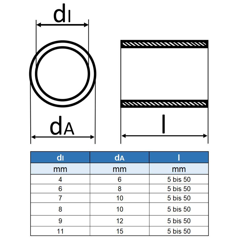 Distanzhalter- VA Abstandsh/ülse Distanzh/ülse aus Edelstahl Rohr geschei/ßt 5 St/ück rostfrei Eisenwaren2000 Abstandshalter /Ø innen: 7 mm; /Ø au/ßen: 10 mm; L/änge: 50 mm -