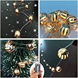 DealBeta Rose Gold Globe Ball String Lights,Wall Lights 30 LED Fairy Lights Battery Powered 8 Modes Decorative Lights For Wedding Home Holiday Indoor Swing Fireplace Candlestick(Warm white)