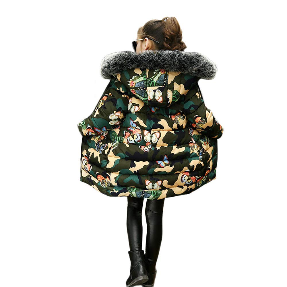 XILALU Children Girl Winter Warm Long Coat 3T-9T Kids Camouflage Butterfly Zipper Hooded Jacket Thick Outerwear Clothes