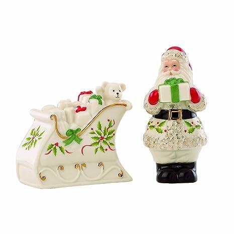 f5ff606b8ca Amazon.com  Lenox Holiday Santa   Sleigh Salt   Pepper Set  Salt And ...