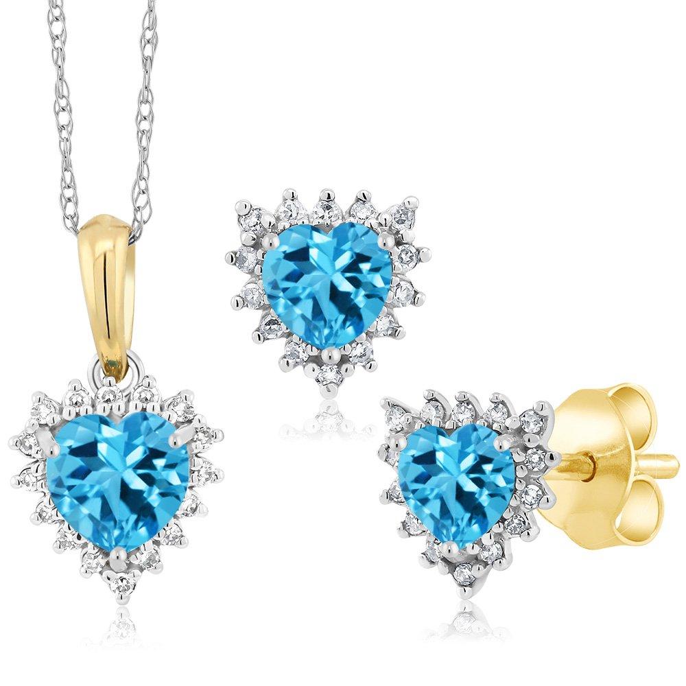 18K Two Tone Gold 1.53Ct Heart Swiss Blue Topaz and Diamond Pendant Earrings Set by Gem Stone King