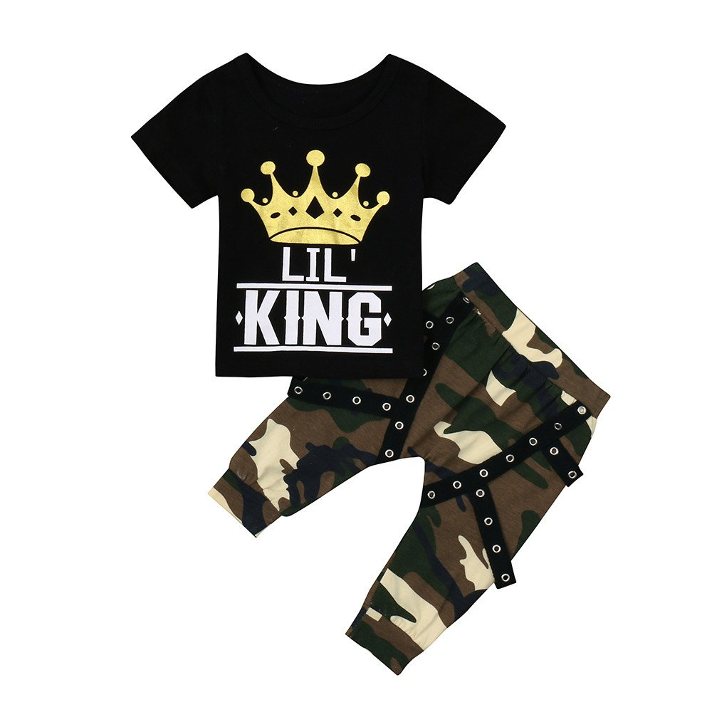 New!!! Vovotrade Toddler Baby Boys Fashion Letter Print Clothes Set Kids Camouflage Tops T Shirt +Pants Outfits Set