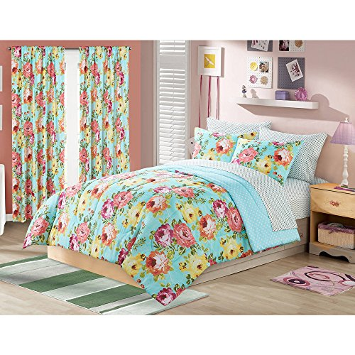 7 Piece Girls Aqua Blue Rose Bouquet Comforter Queen Set, Red Green Floral Bohemian Hippie Hippy Shabby Chic Pattern Kids Bedding, Transitional French Country Flower Garden Themed Teen, Polyester (Country Floral Garden Bouquet)