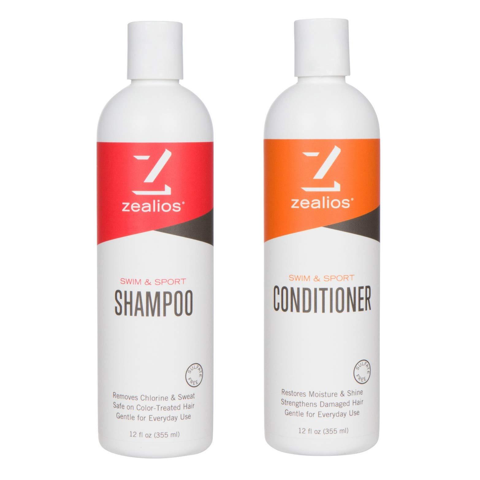 Zealios Sulfate Free Shampoo & Conditioner Moisturizing Renewal Kit - Swim & Sport Formula Safe For Treated Hair & Chlorine Removal 12 fl oz Each by Zealios