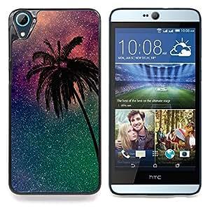 "For HTC Desire 826 Case , Palmera Estrellas púrpura Miami California"" - Diseño Patrón Teléfono Caso Cubierta Case Bumper Duro Protección Case Cover Funda"