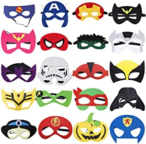 Mizzuco Kids Party Cosplay Masks Felt Party Masks 20 Pieces Multiple Sizes Adjustable Elastic Band for Birthday Halloween Party Supplies to Decoration