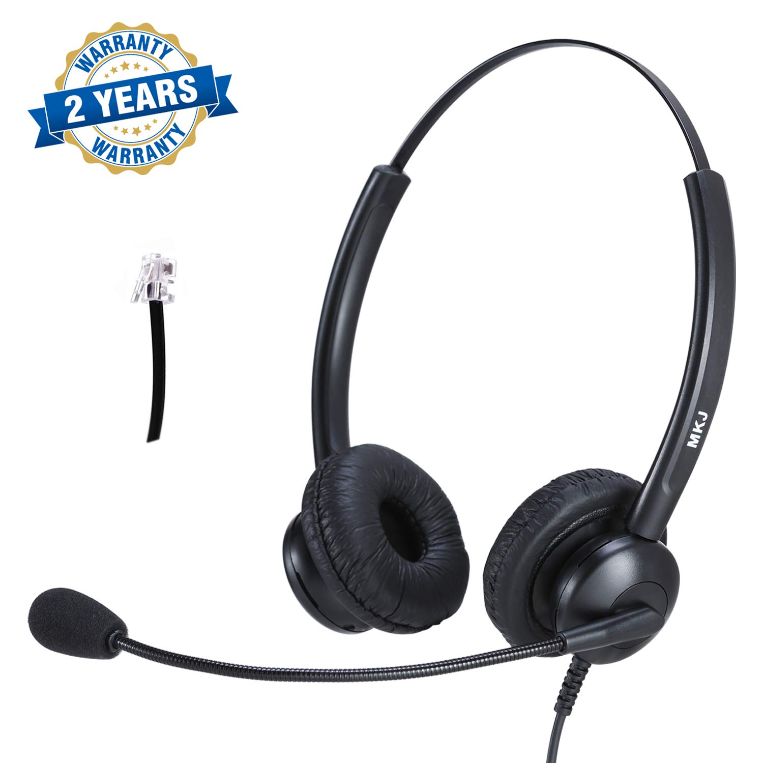 Call Center Binaural Headset RJ9 Corded Headphone with Noise Cancelling Microphone for Desk Phone AVAYA Aastra AudioCodes Atcom Fanvil Mitel Nortel