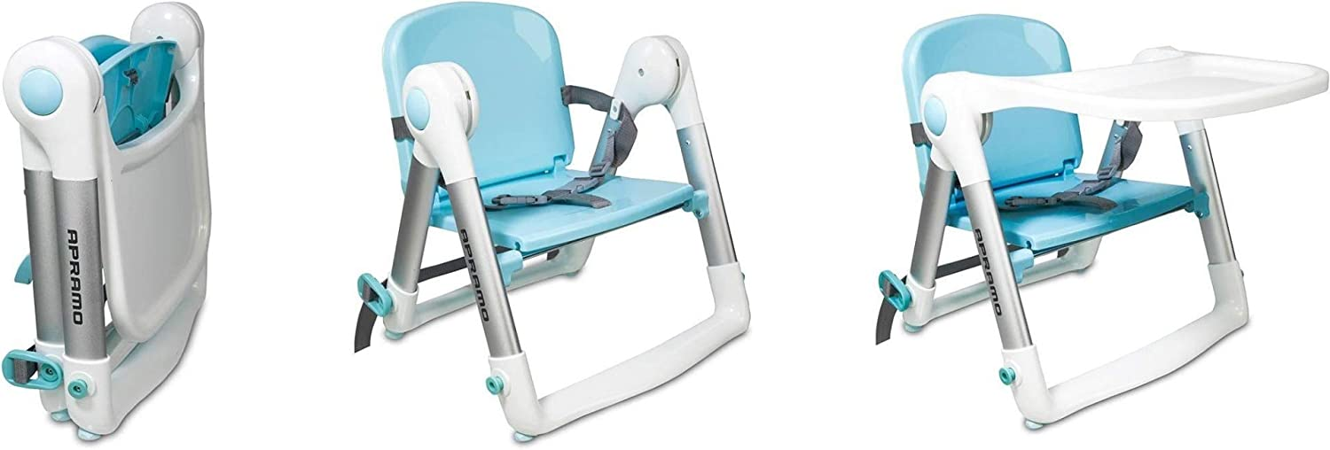 Apramo FLIPPA Universal Childs Dining Booster Seat Includes 2 Animal Safety Door Stoppers Upto 3yrs or 15kg Blue