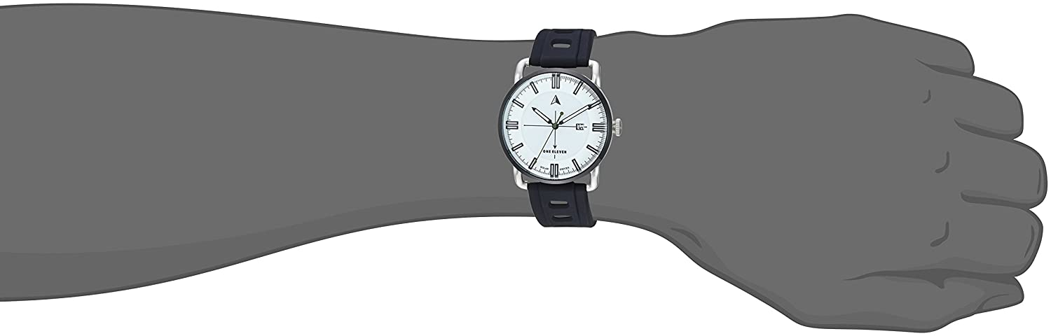 Amazon.com: One Eleven Mens SW1 Solar Quartz Stainless Steel and Silicone Casual Watch, Color:Silver-Toned (Model: CBOE2007): Watches