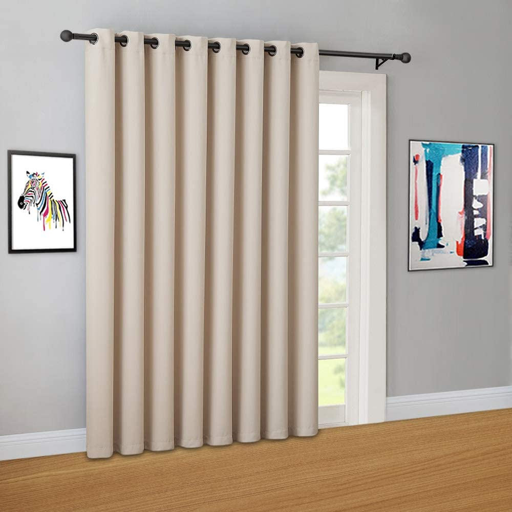 """WARM HOME DESIGNS 1 Panel of Cream Ivory Blackout Patio Door Curtains. Each Extra Wide Insulated Thermal Sliding Door or Room Divider Curtain is 102"""" X 84"""" in Size - N Ivory Patio 84"""