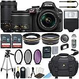 Nikon D3400 24.2 MP DSLR Camera (Black) w/AF-P DX NIKKOR 18-55mm f/3.5-5.6G VR Lens & AF-P DX NIKKOR 70-300mm f/4.5-6.3G ED Lens Bundle includes 64GB Memory + Filters + Deluxe Bag + Accessories