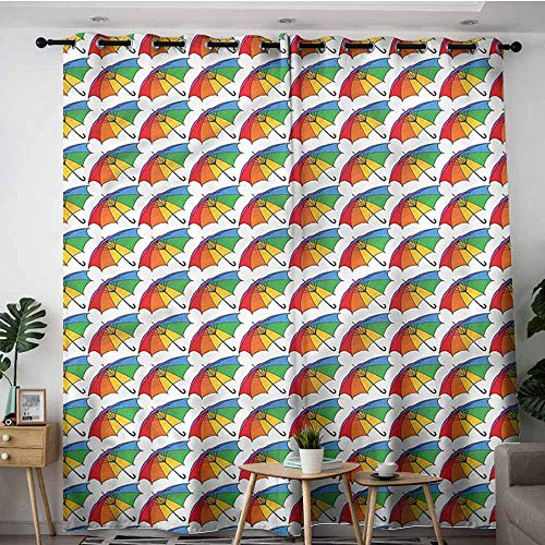 XXANS Window Curtain Panel,Umbrella,Rainbow Colored Canopy,Great for Living Rooms & Bedrooms,W84x108L (Umbrella Natural Colored Canopy)