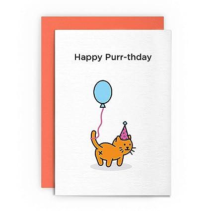 Cat Funny Rude de buen humor - feliz purr-thday- tarjeta de ...