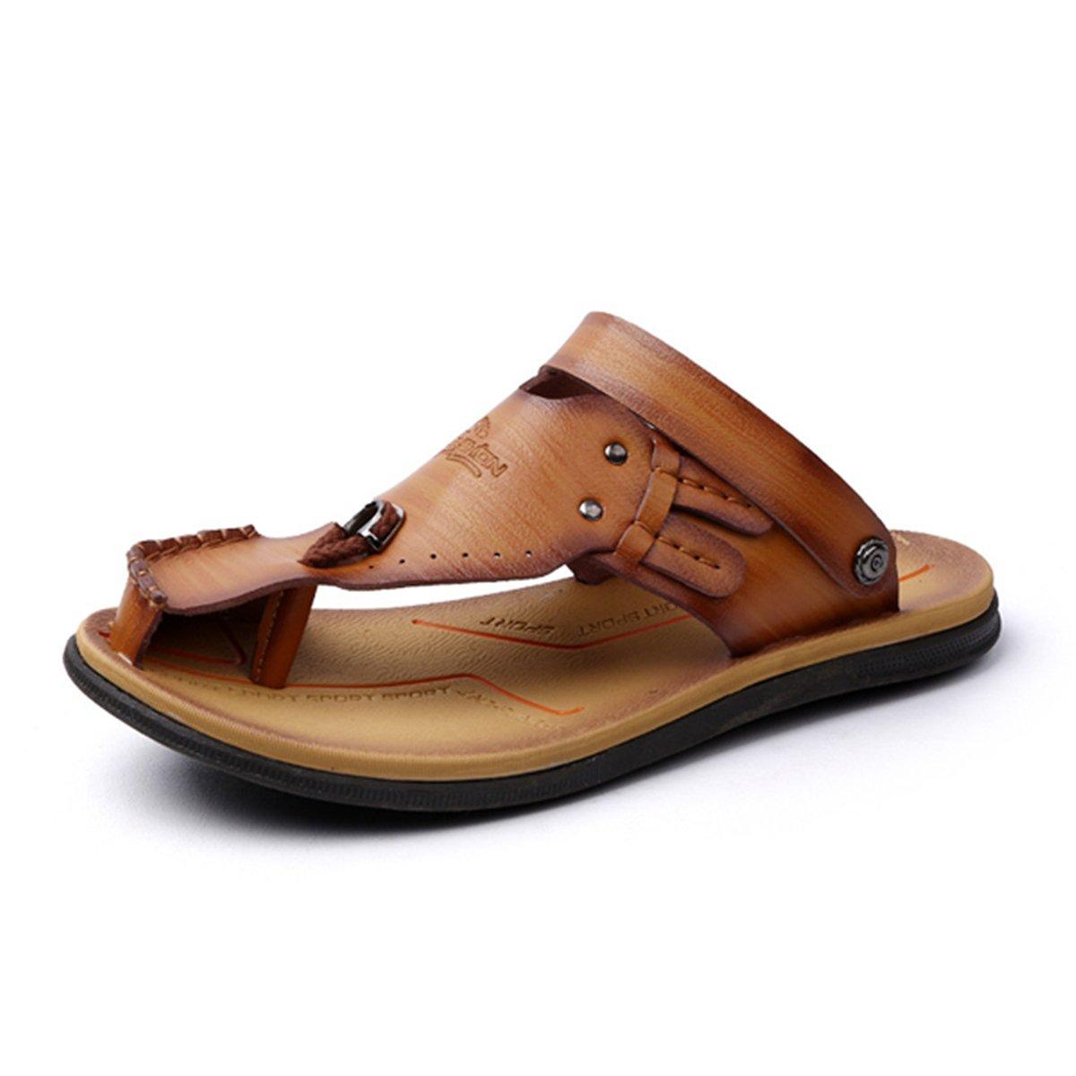 Gracosy Flip Flops, Unisex Zehentrenner Flache Hausschuhe Pantoletten Sommer Schuhe Slippers Weich Anti-Rutsch T-Strap Sandalen fuuml;r Herren Damenr  41 EU|Braun-c