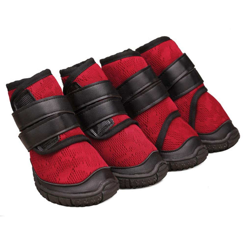 Red 90 Red 90 Pet shoes Small Medium and Large Dog shoes Fashion High Tube Breathable Non-Slip Sports Dog Net shoes