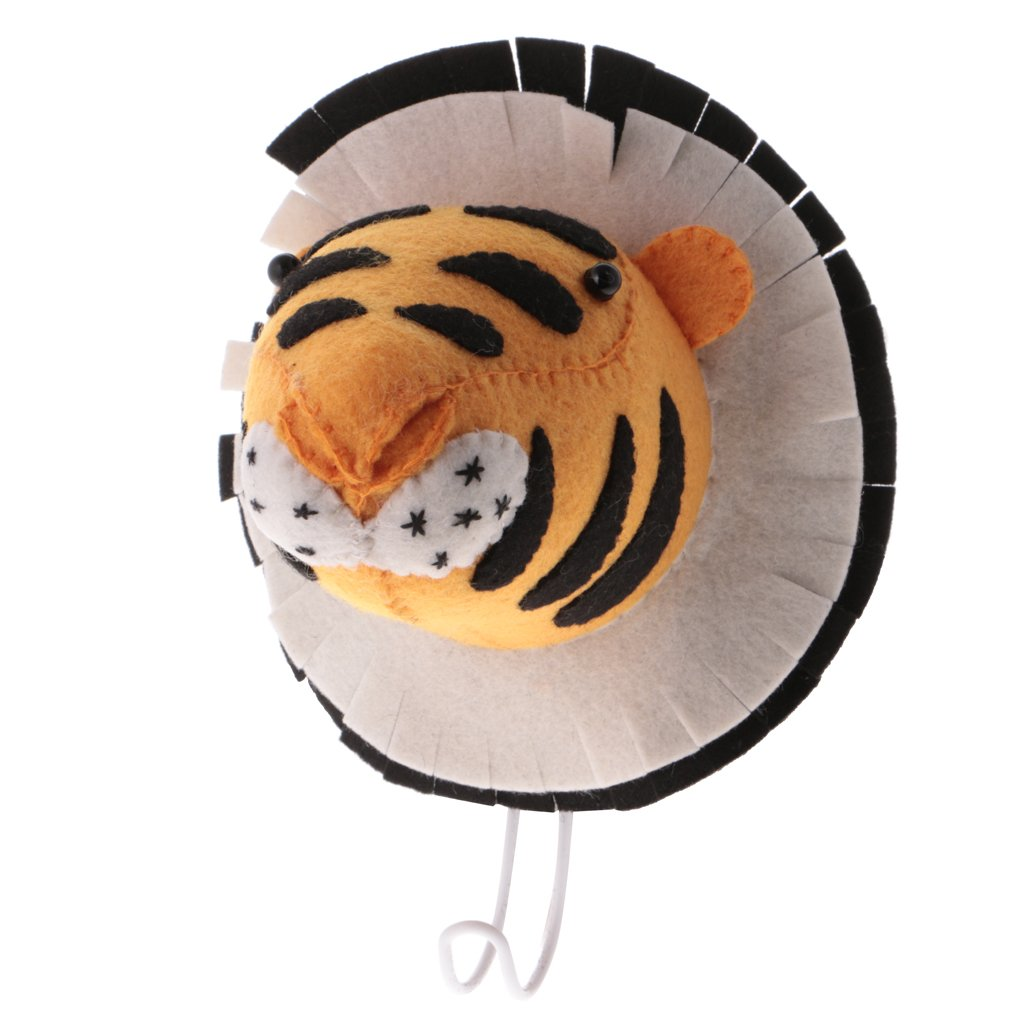 Dovewill Wall Mounted Felt Tiger Animal Head with Hook Kids Baby's Cloth Hanger by Dovewill