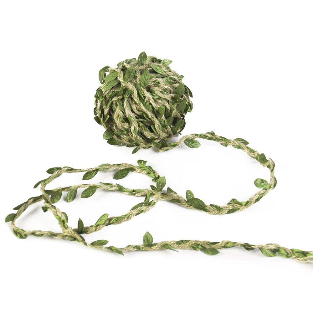 Olive Green Leaves Leaf Trim Ribbon -20 Yards - for DIY Craft Party Wedding Home Decoration (Olive Green) David Accessories 48930