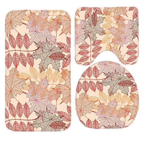SSOIU 3 Piece Bath Mat Set Misc Leaves Fall Autumn Maple Ash Mountain Non-Slip Bathroom Mats Contour Toilet Cover Rug
