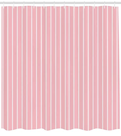 Light Pink Shower Curtain By Ambesonne Simplistic Retro Fashion Vertically Striped Pattern Geometric Classical