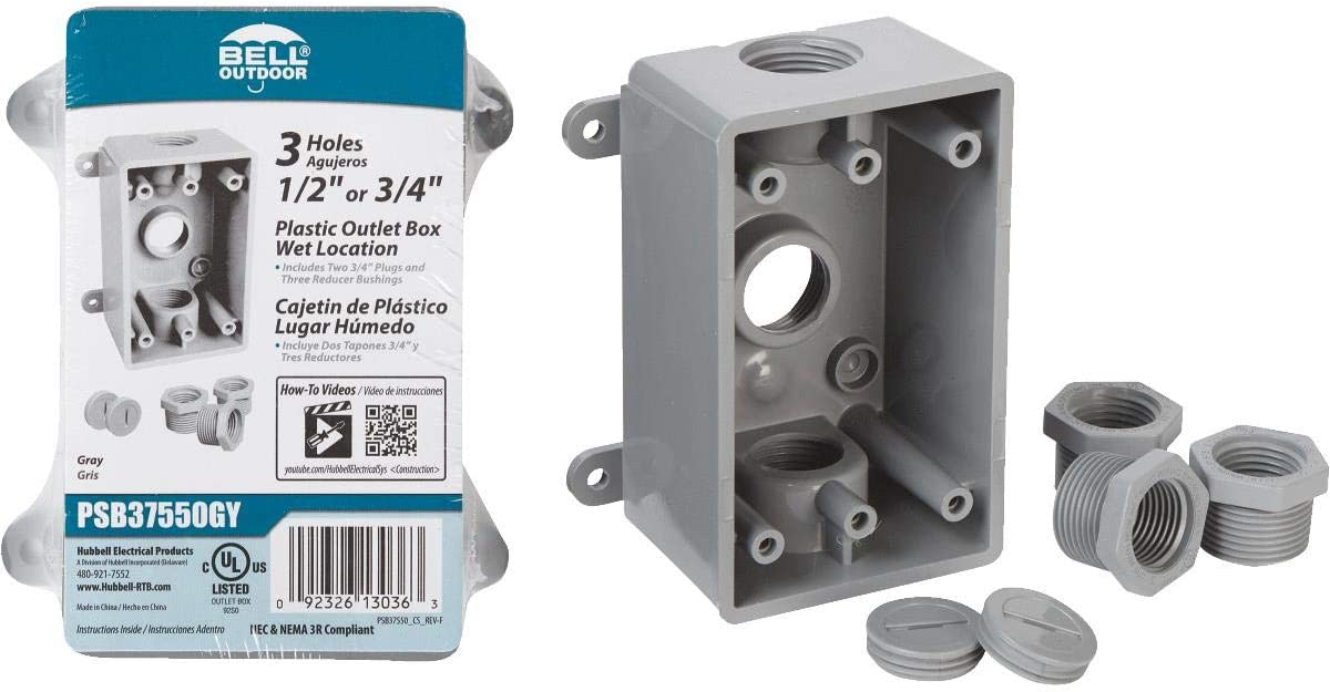 White Finish Hubbell-Bell PSB37550WH Single-Gang Weatherproof Box Three 1//2 in or 3//4 in Threaded Outlets