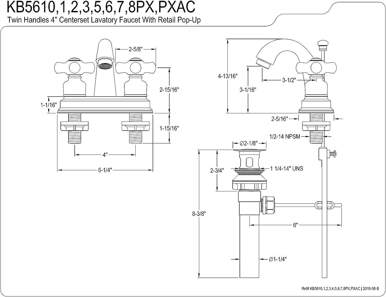Satin Brass Kingston Brass KB5617PX Restoration 4-Inch Centerset Bathroom Faucet