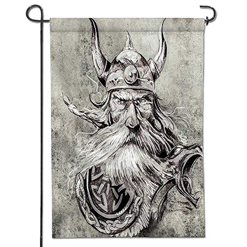 Mikihome Double Sided Premium Garden Flag,Artistic Pencil Drawing of a Brave Viking Warrior with his Armour Image Grey Weather Resistant & Double ()