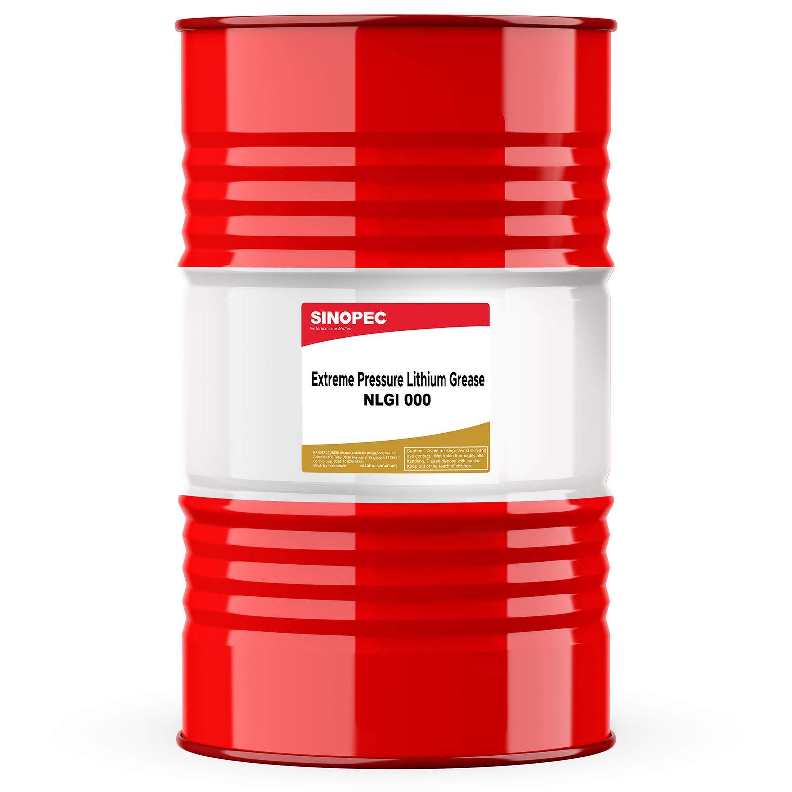 Sinopec (EP000) Semi-Fluid EP Multipurpose Lithium Grease, NLGI 000-400LB. (55 Gallon) Drum
