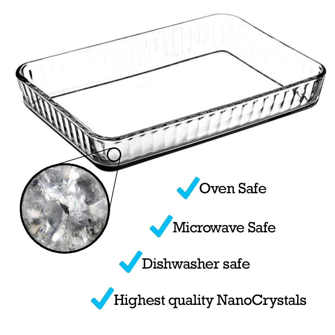Glass Baking Dish for Oven, Casserole Dish, 16 in x 11 in Rectangular Baking Tray, Heat Resistant Borosilicate Glass Ovenware, 4-Quart Capacity Glass Cookware