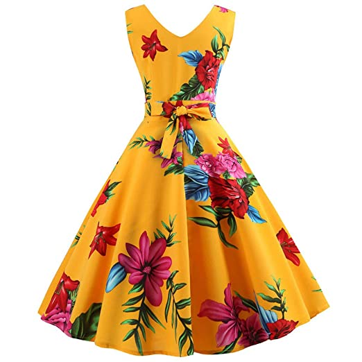 e8e2e82cf003b Women Fashion Plus Size Print Sleeveless Bandage Camis Long Fork Party  Dress 2019 Dresses Yellow Black at Amazon Women s Clothing store
