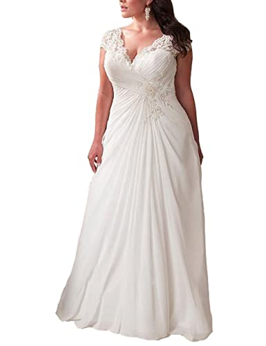Mulanbridal Elegant Applique Lace Wedding Dress Chiffon V Neck Plus Size Beach Bridal Gowns