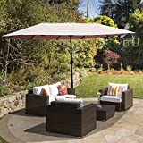 Outsunny 15ft Outdoor Twin Patio Umbrella Outdoor Double-Sided Market Parasol Sun Shelter with Crank (Light Coffee)