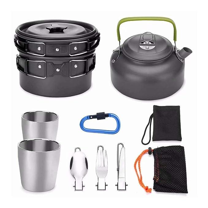LEENY Utensilios de Cocina de Camping Kit de Mezcla para 2-3 Personas, Que Acampa Kit de Cocción - Cubiertos Portátil BBQ Sartén, Ideal para Mochilero, ...