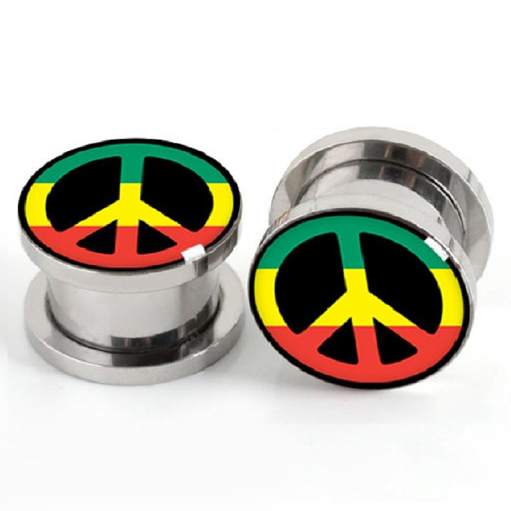 7ZACC Rasta Peace Sign Peace Plugs Steel Pairs ScrewBody Piercing