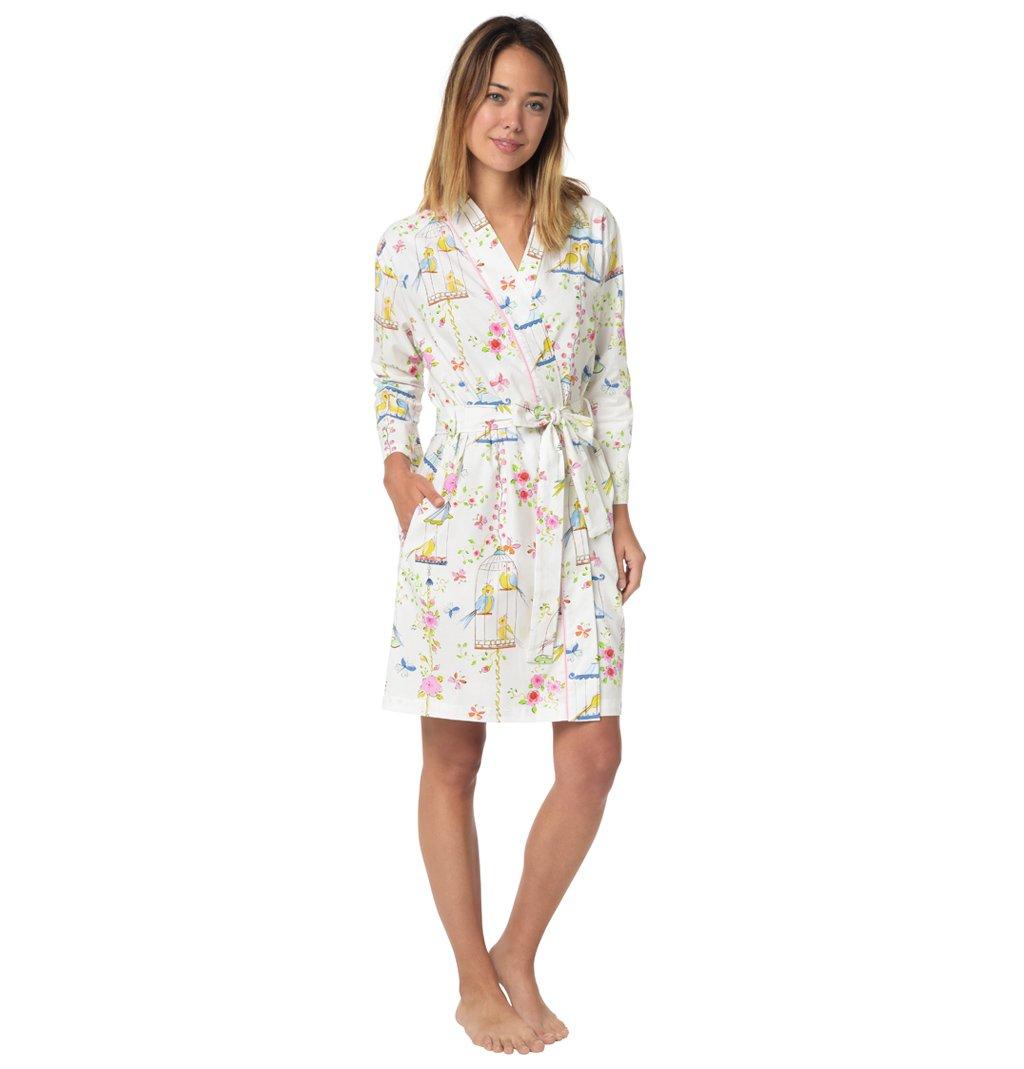 The Cat's Pajamas Lovebirds Women's Cotton Robe Medium/Large