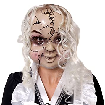 4f674eb2ef1 ADULTS CRACKED BROKEN DOLL FACE MASK HALLOWEEN FANCY DRESS ACCESSORY -  PLASTIC CREEPY GIRL DAMAGED DOLL